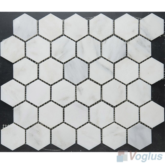 Orient White Polished 2 inch Hexagonal Shaped Stone Mosaic VS-PHX87