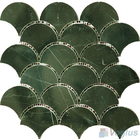 Polished Black Marquina Fish Scale Fan Shaped Marble Mosaic VS-PFN93
