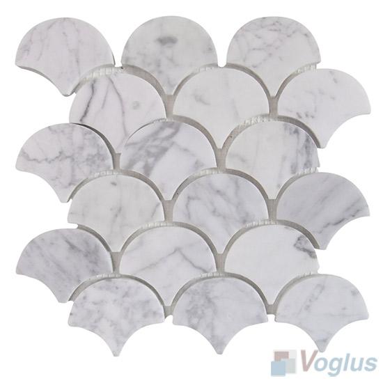 Polished Carrara White Fish Scale Fan Shaped Marble Mosaic VS-PFN95