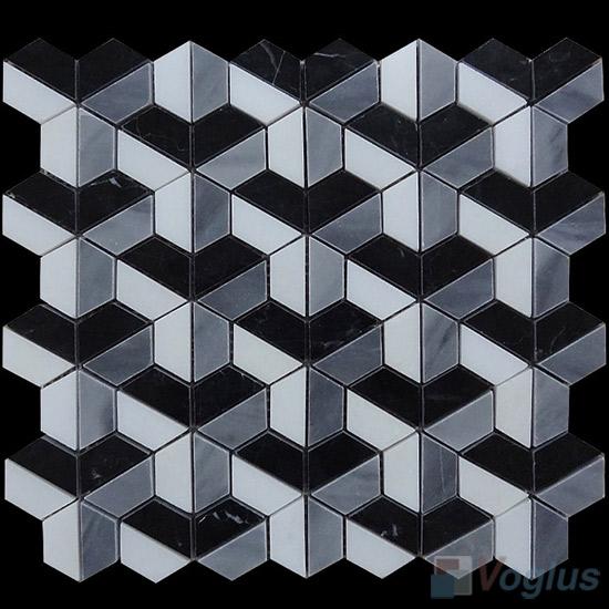 Polished Mixed Trapezia Shaped Marble Mosaic VS-PTP98