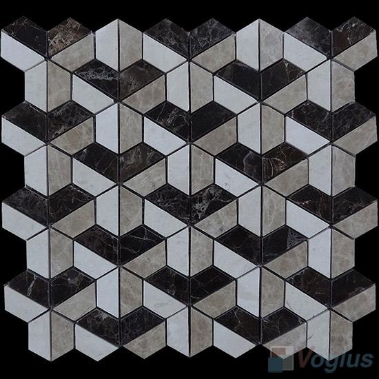 Polished Mixed Trapezia Shaped Marble Mosaic VS-PTP99