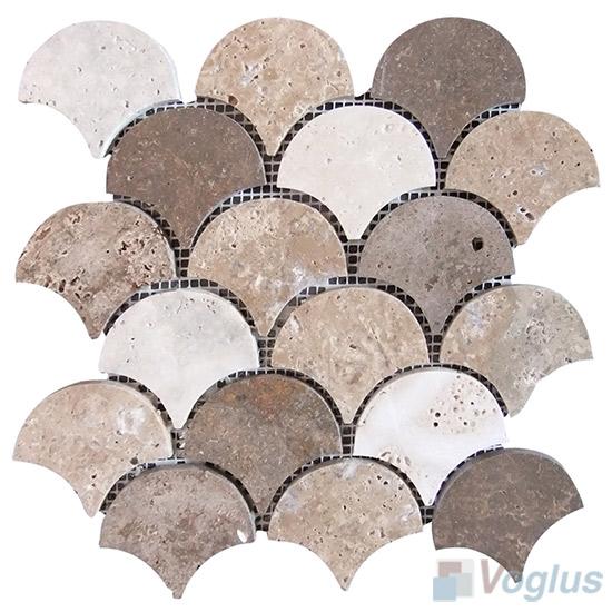 Polished Mixed Travertine Fish Scale Fan Shaped Stone Mosaic VS-PFN94