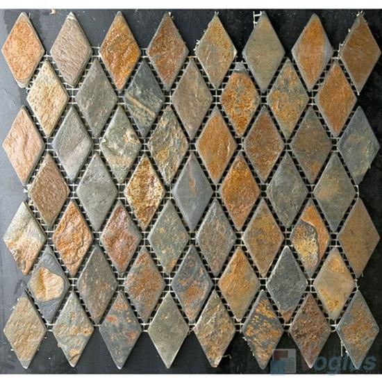 Rhombus Shaped Rusty Slate Mosaic VS-SL89