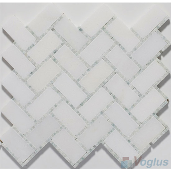 Small Dots White Polished Herringbone Marble Mosaic Tile VS-PHB87