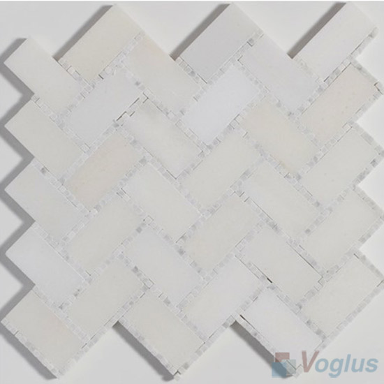 Small Dots White Polished Herringbone Marble Mosaic Tile VS-PHB89