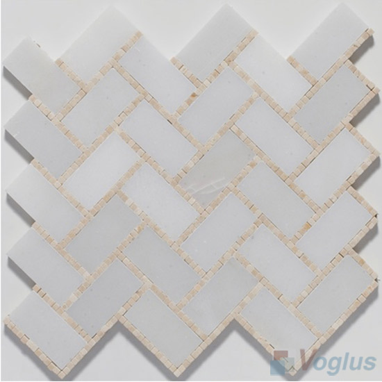 Small Dots White Polished Herringbone Marble Mosaic Tile VS-PHB90
