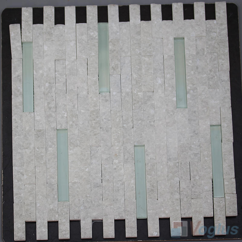 Strip Thassos White Natural Split Face Stone Mosaic VS-STM87