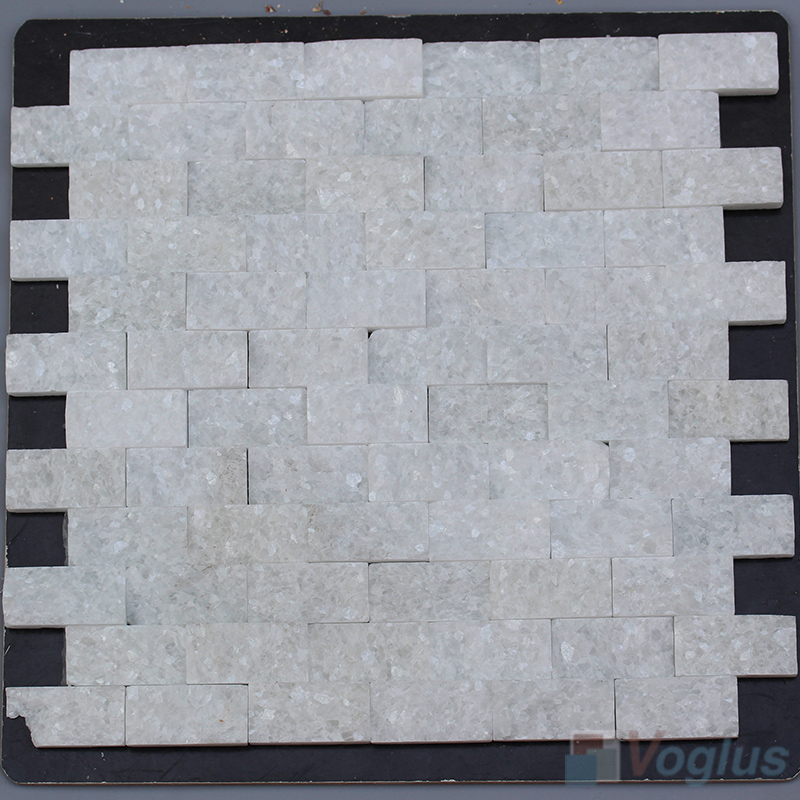 Thassos White 1x2 inch Brick Natural Split Face Marble Mosaic Tile VS-STM95