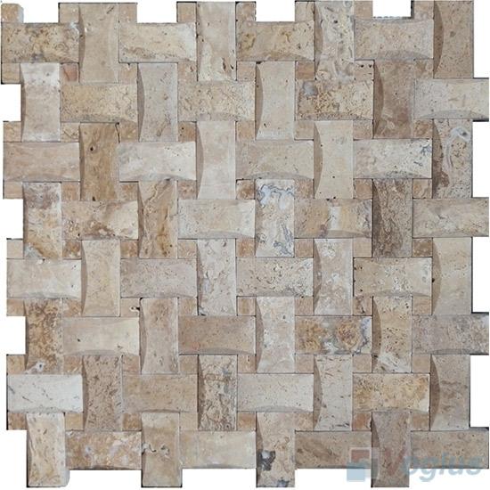 Travertine Camber Basket Weave Stone Mosaic VS-PBW85