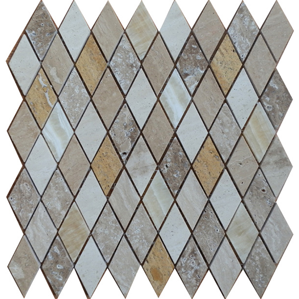 Travertine Mixed Polished Diamond Shaped Stone Mosaic VS-PDM89