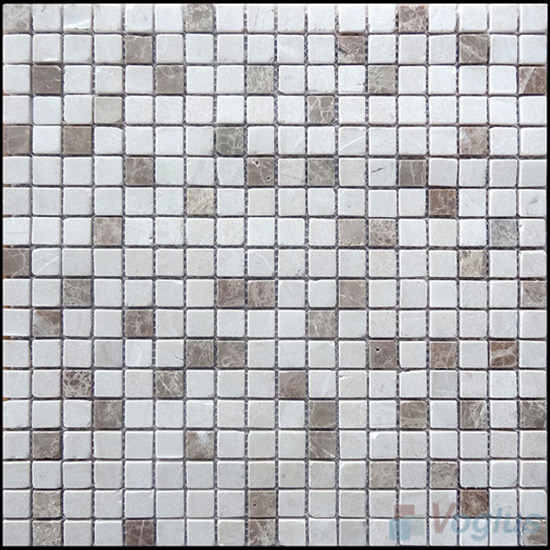 Tumbled Emperador Light 4mm Thickness 15x15mm Heritage Marble Mosaic VS-SN94