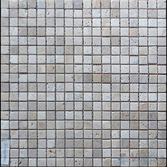 Tumbled Travertine 4mm Thickness 15x15mm Heritage Stone Mosaic VS-SN97