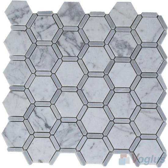 Volakas White Polished Hexagonal Shaped Stone Mosaic VS-PHX85