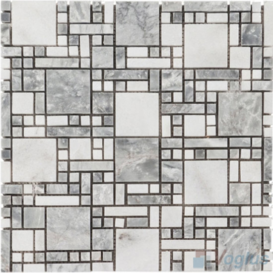 White Gray Polished Miscellaneous Marble Mosaic VS-PMG94