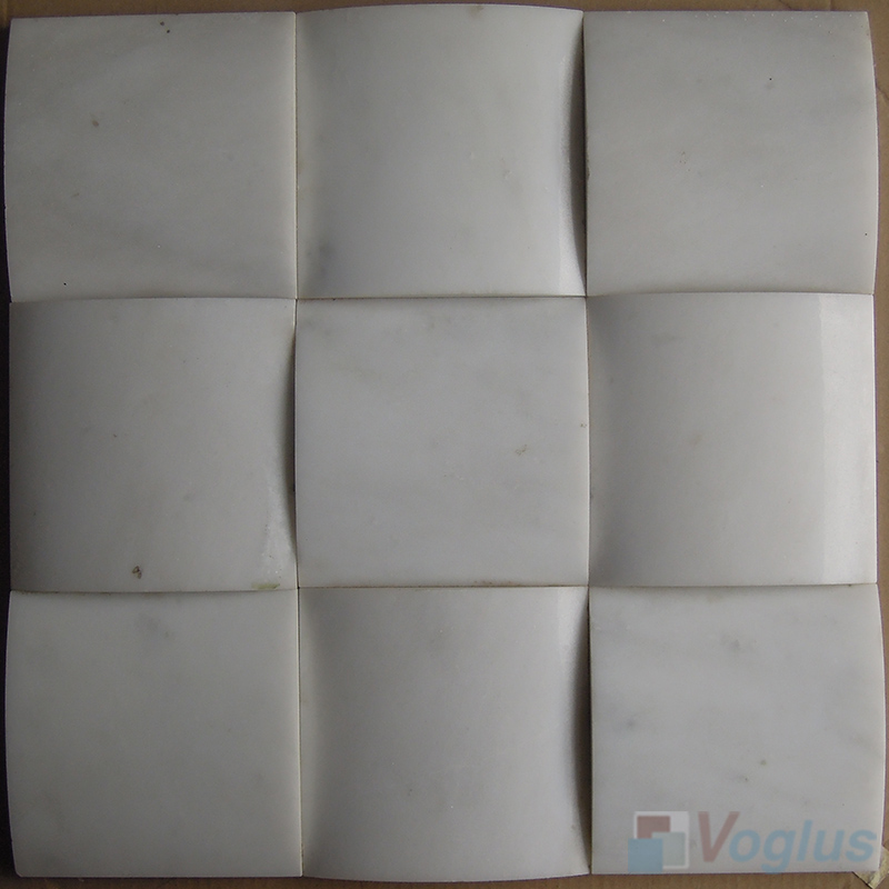 White Large Camber Bread 3D Stone Mosaic VS-PCB87