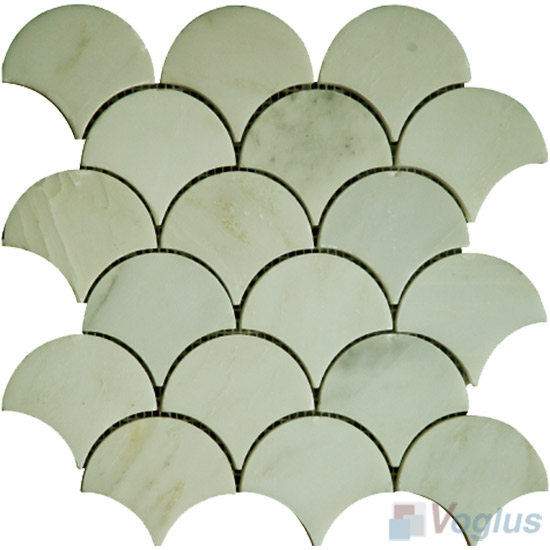 White Marble Polished Fish Scale Fan Shaped Marble Mosaic Tile VS-PFN90