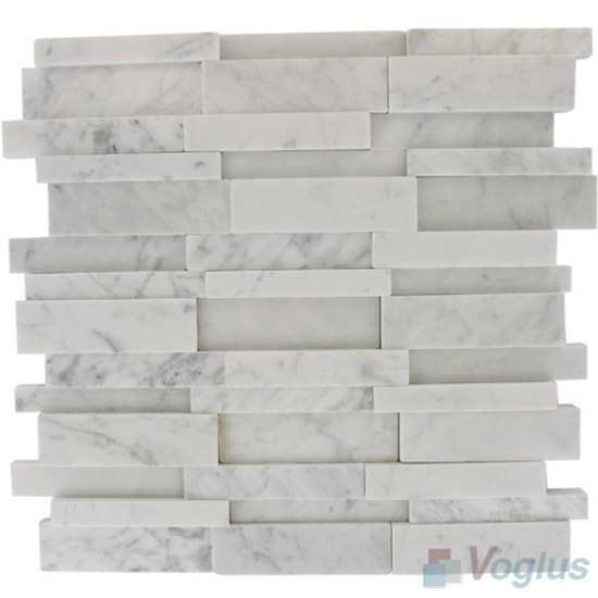 White Polished High Low Breakfront Marble Mosaic Tile VS-PBF94