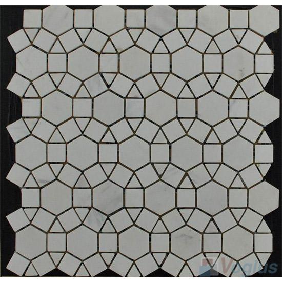 White Polished Sunflower Stone Mosaic VS-PSF92