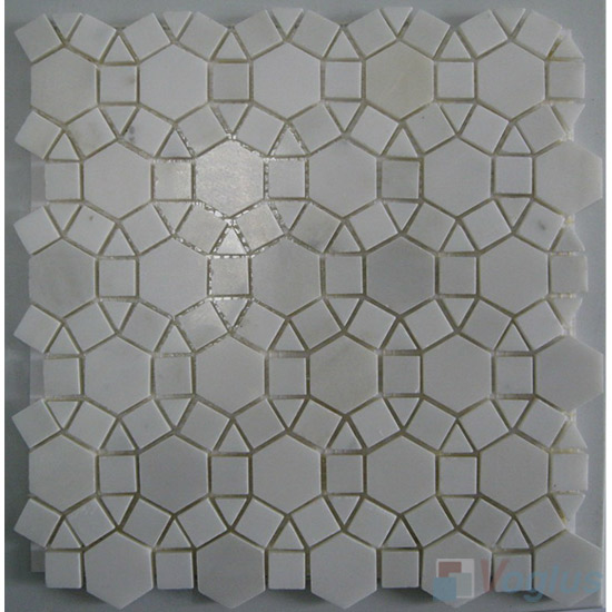 White Polished Sunflower Stone Mosaic VS-PSF93