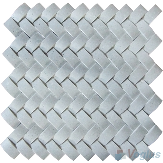 White Travertine Braided Pattern Marble Mosaic VS-PBD95