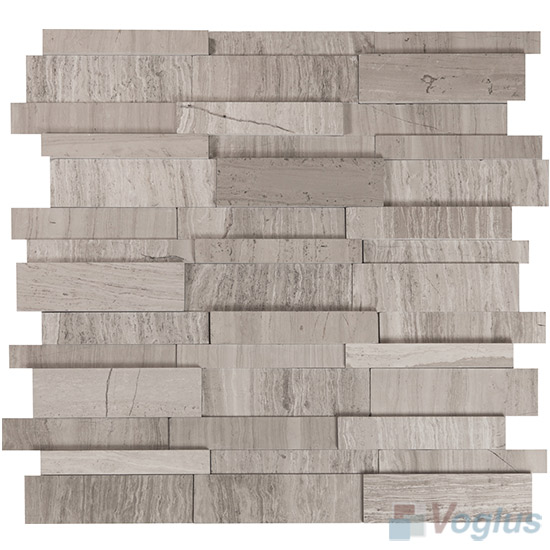 Wooden Gray Polished High Low Breakfront Marble Mosaic Tile VS-PBF95