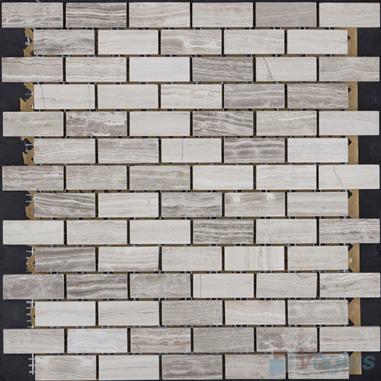 Wooden Gray Polished Subway Medium Brick Marble Mosaic VS-MDW86