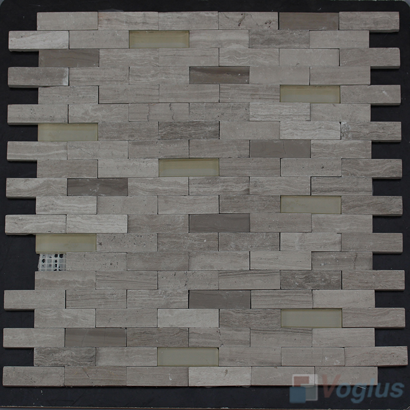 Wooden Gray Subway Natural Split Face Stone Mosaic Tile VS-STM88