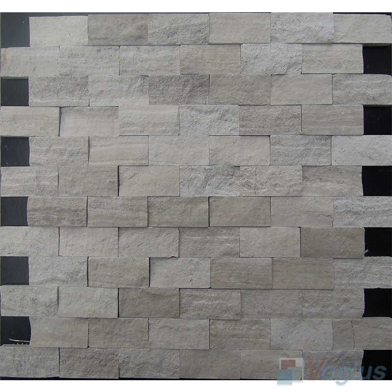 Wooden White 1x2 inch Brick Natural Split Face Marble Mosaic Tile VS-STM93