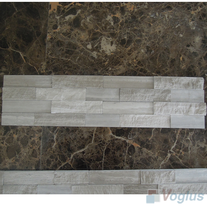 Wooden White Natural Split Face Culture Stacked Stone Marble Mosaic VS-STT97