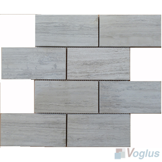 Wooden White Polished 3x6 inch Brick Marble Mosaic VS-MDW87