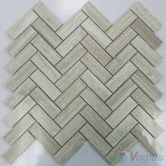 Wooden White Polished Herringbone Marble Mosaic Tile VS-PHB85