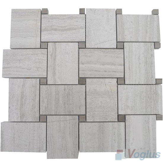 Wooden White Polished Large Basket Weave Marble Mosaic VS-MDW93
