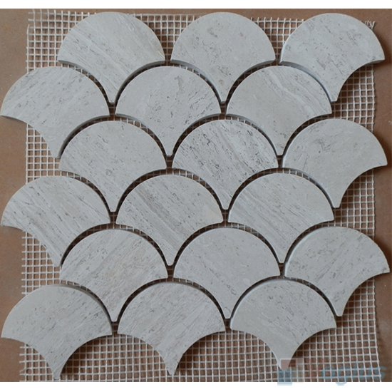 Wooden White Polished Large Fan Shape Fish Scale Marble Mosaic VS-MDW98