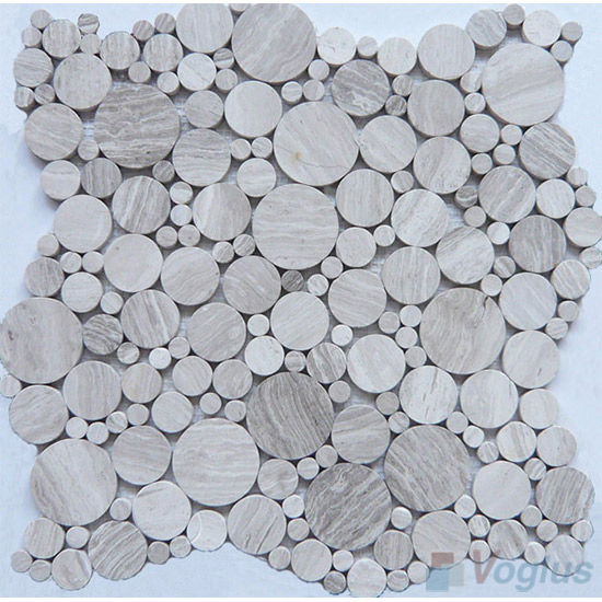 Wooden White Polished Pebble Bubble Marble Mosaic VS-MDW95
