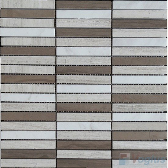 Wooden White Polished Stream Marble Mosaic VS-MDW89