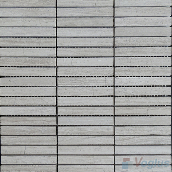 Wooden White Polished Stream Marble Mosaic VS-MDW90