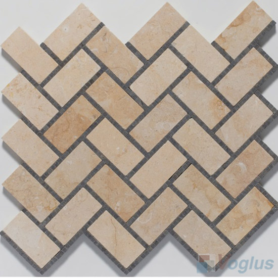 Small Dots Beige Polished Herringbone Marble Mosaic Tile VS-PHB88