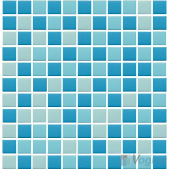 Blue Mixed 25x25mm 1x1 inch Plain Pool Ceramic Mosaic VC-PL88