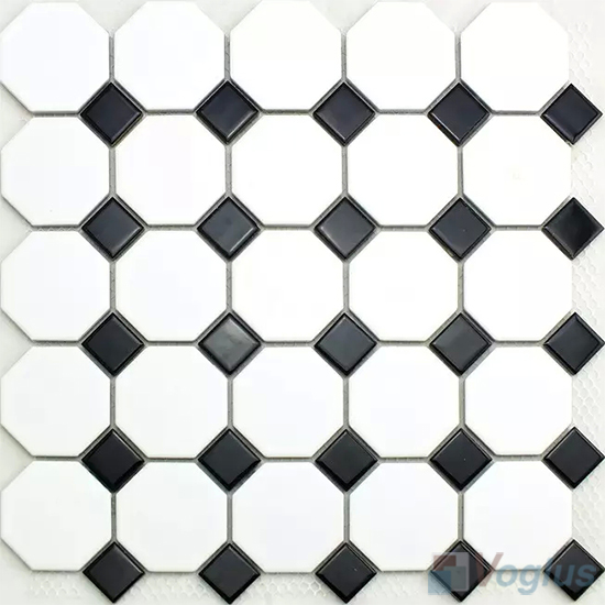 Black White Octagon Dot Porcelain Mosaic Tiles Vc Bw99