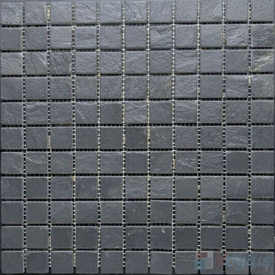 1x1 Inch Black Slate Mosaic Vs Sl98