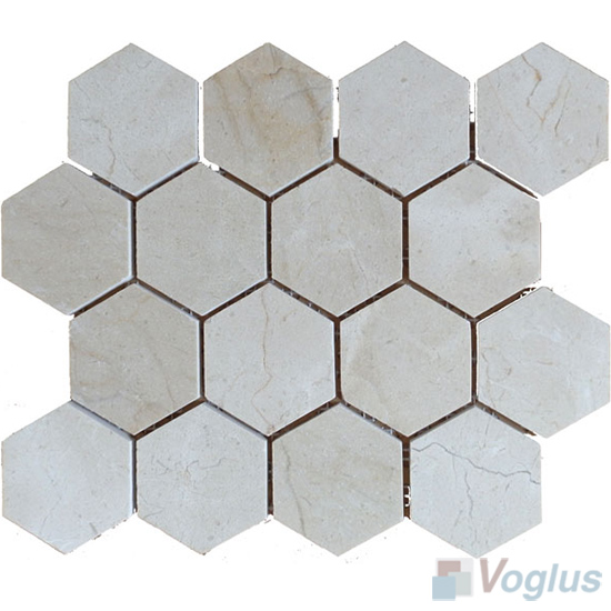 Cream Marfil Polished 3 Inch Hexagon Marble Mosaic Vs Mcm93